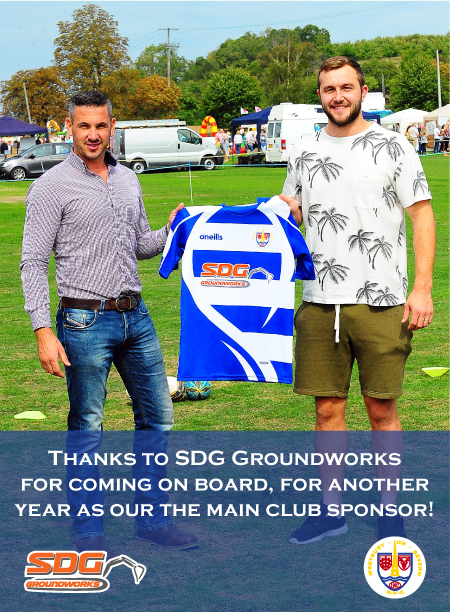 THANKS TO SDG GROUNDWORKS FOR COMING ON BOARD AGAIN AS OUR MAIN CLUB SPONSOR FOR THE 2019-2020 SEASON